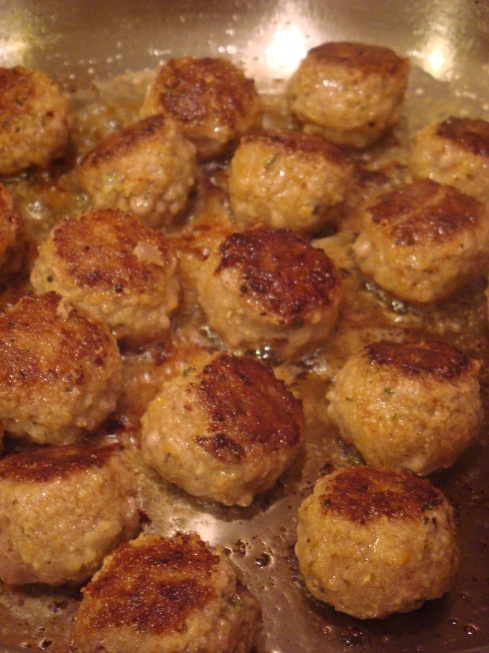 Meatballs a-simmering