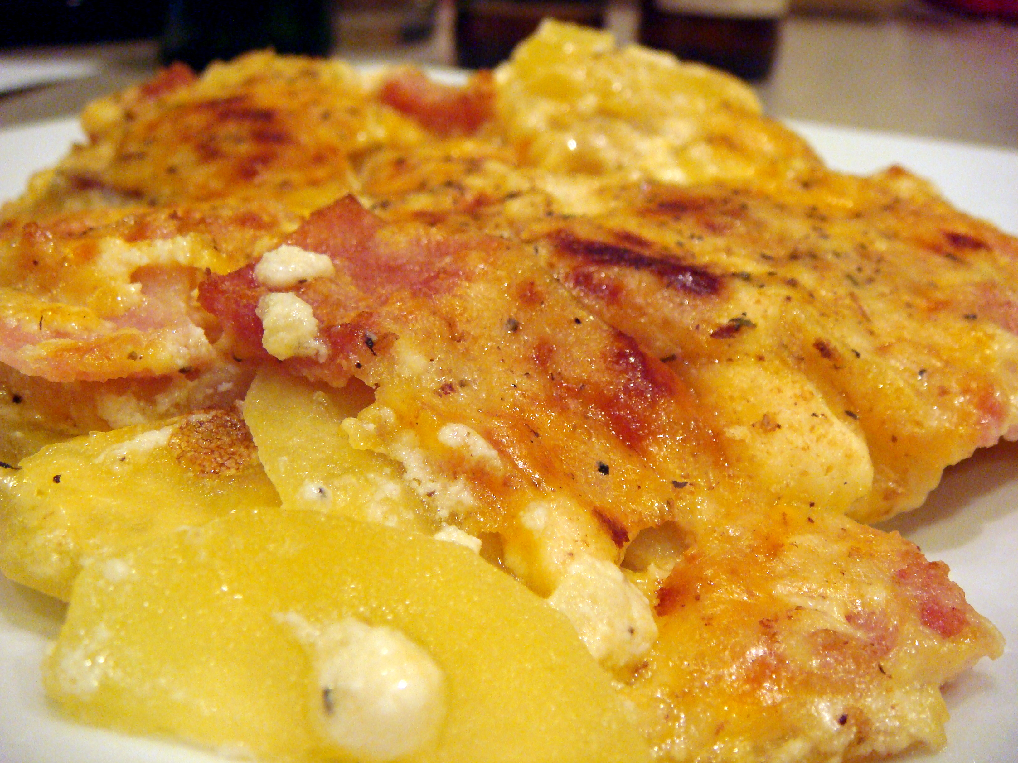 Operation Still Too Much Ham: Four-Cheese Potatoes au Gratin with Ham