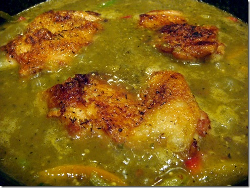 Chicken simmering